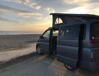 Campervan sunset at the beach