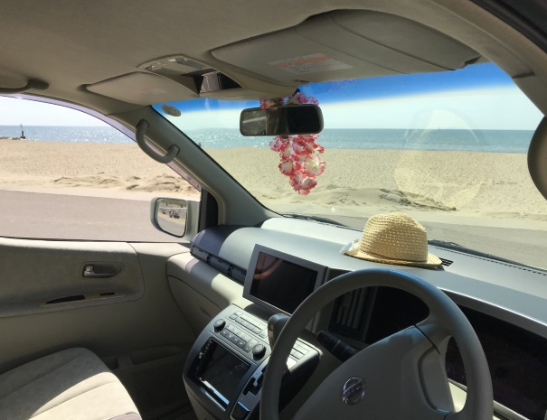 Campervan with beach hat on the dash
