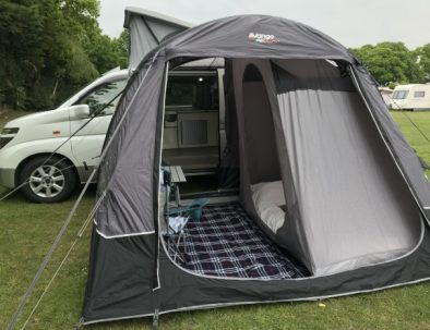 Campervan, awning and bedroom tent