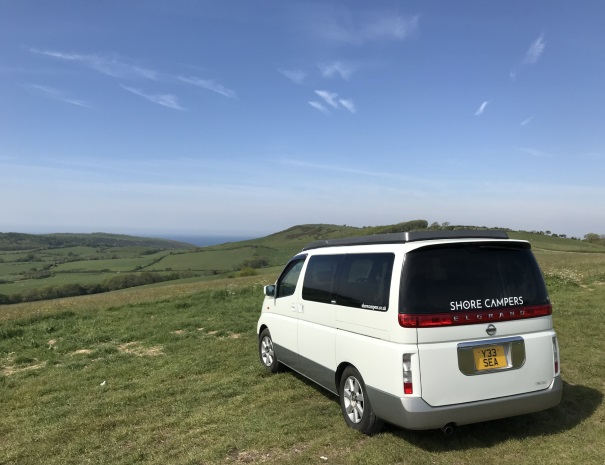 campervan and purbeck fields