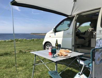 Campervan seaview lunch post-paddle