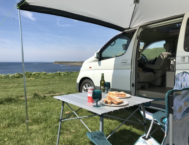 Lunchtime at the Campervan at Kimmeridge