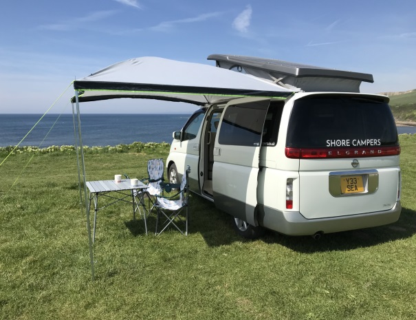 Seaside campervan with canopy for tea