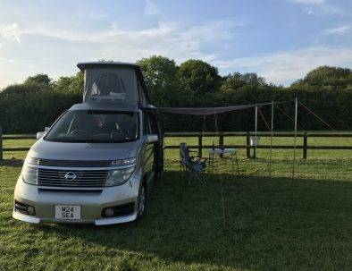 Campervan front with sun canopy
