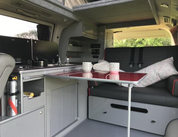 tea in a campervan