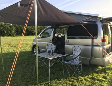 Set up with sun canopy