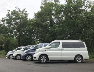 Four Nissan Elgrand campervans side by side