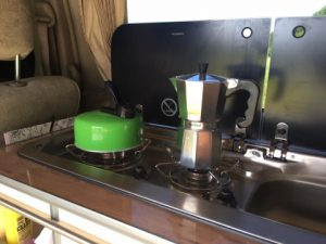 campervan kettle and coffee