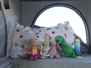 teddies in campervan roof