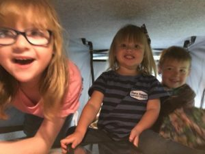 kids in the campervan roof