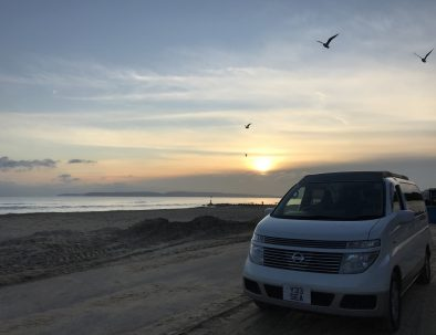 Seagulls and Toto the Campervan at Sunset