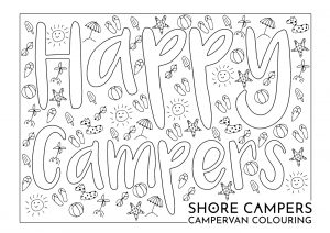 Happy Campers colouring sheet