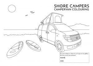 Paddleboard Campervan Colouring Sheet