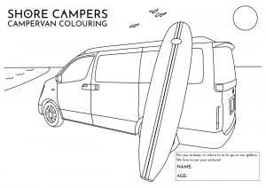 Paddleboard Campervan Colouring Sheet