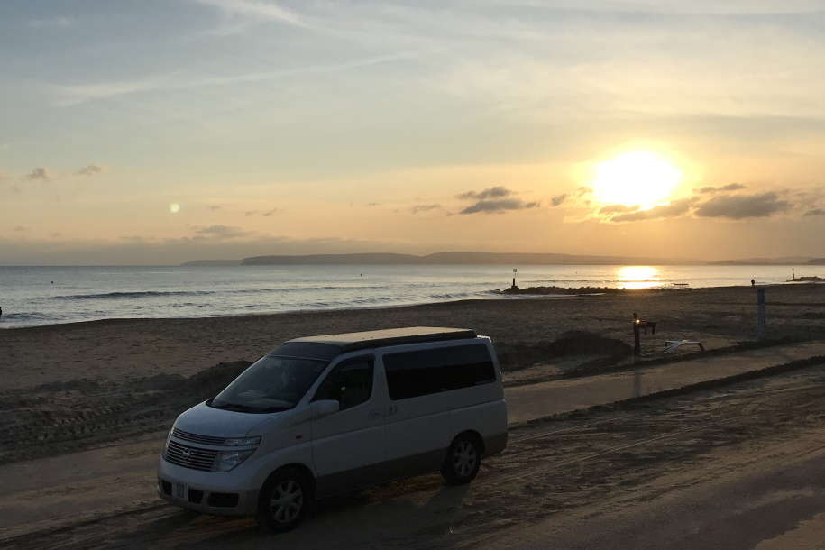Campervan sunset in Bournemouth