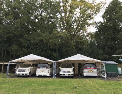Campervans at the field