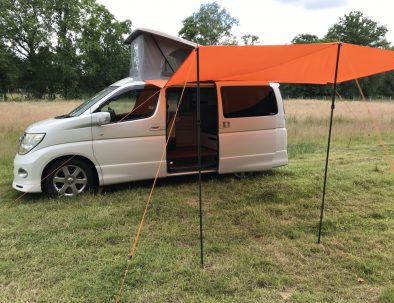 Dale the campervan with his sun canopy