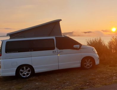 Elgrand campervan sunset